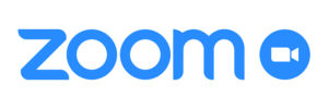 Zoom Video Communications. Zoom logo. Application for video communications with cloud platform for video and audio conferencing, chat and webinars. Blue camera icon. Kyiv, Ukraine - July 21, 2020